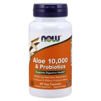 NOW Foods Aloe 10,000 & Probiotics 60 Veg Capsules, FRESH, Made In USA