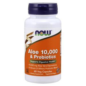 NOW Foods Aloe 10,000 & Probiotics 60 Veg Capsules, FRESH, Made In USA