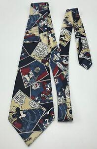 Disney Cravate Fantaisie Mickey Mouse Bd Style Italien 100% Soie