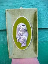 MARY & JESUS Pewter Sculpture On Green Velveteen Cloth Covered Wood Frame