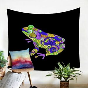 Black Mandala Frog Wall Tapestry Hanging Throw Cover Home Room Decoration