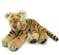 Steiff Tiger Lying Mohair Plush 28cm 11in 1960s no ID Vintage Jungle Cat