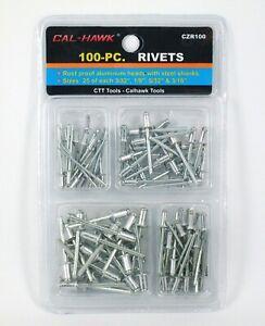 100 pc Pop Rivet Assortment Set Aluminum Blind Riveter Gun Air & Hand