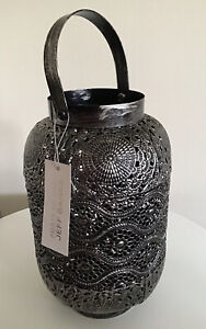 JEFF BANKS SILVER/BLACK BRUSHED EFFECT ROUND LANTERN WITH HANDLE PORTS OF CALL