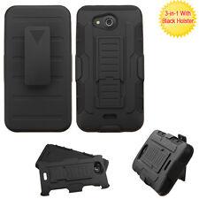 Kyocera Hydro Wave / Air -Black Hybrid Hard & Soft Case Cover Holster +Belt Clip