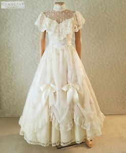 Vtg GUNNE SAX Prairie Wedding Prom Ivory Floral Chiffon Victorian Dress 7 S