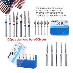 100pcs Dental Diamond Burs for High Speed Handpiece Medium 1.6mm Friction Grip