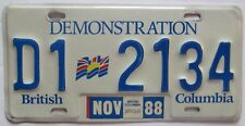 British Columbia 1988 DEMONSTRATION License Plate HIGH QUALITY # D1 2134
