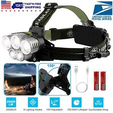 Bright 5X T6 LEDs Headlamp Headlight Flashlight Head Torch + 18650 Battery + USB