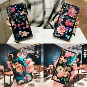 Luxury Flower Peony Square Phone Case For Samsung S10 S20 FE S21 Ultra Note 10
