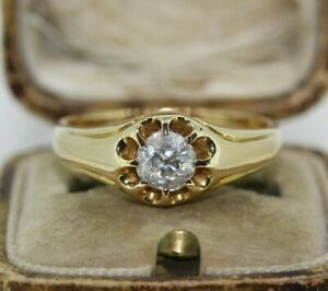 Vintage 18ct Yellow Gold 0.75ct Old Cut Diamond Gypsy Ring (Size T, US 9 3/4)
