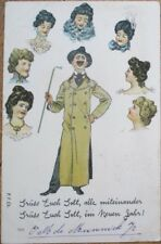 Risque 1901 Postcard: Man Surrounded w/Thoughts of Seven Women - Color Litho