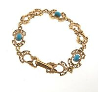 "Vintage Florenza Faux Turquoise Filigree Bracelet Gold Tone 7"""