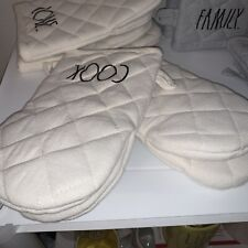 Rae Dunn 2 Pack Mini Oven Mitts Cream Cook 100% Cotton Nwt