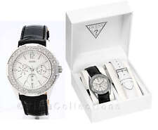 NEW GUESS ROCK CANDY SS LADY BLACK WHITE LEATHER STRAP WATCH U10623L2 GIFT SET