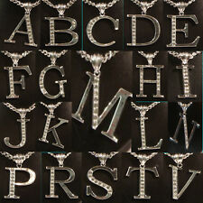 """Initial Letter Long Chain Silver Tone Pendant Necklaces Mixed Metals Length 24"""""""
