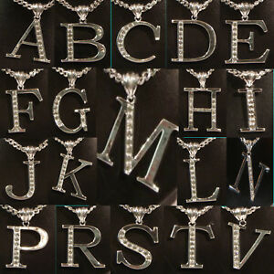 """Initial Alphabet Letter Long Chain Silver Tone & Crystal Pendant 24"""" Necklaces"""