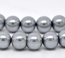 1 x 32inch strand gris perle ~ ~ 10mm ronde perles de verre ~ ~ bracelets collier (28 quater titre A)
