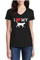 Ladies V-neck I Love My Cat Shirt Pet Animal Lovers Tee Proud Of My Cat T-Shirt