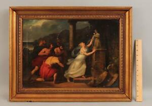 18thC Antique Greek Mythology Oil Painting Fall of Troy CASSANDRA Temple Athena