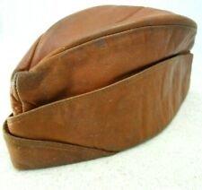 Vintage Leather Garrison Cap Boys Prep High School Academy 1940s