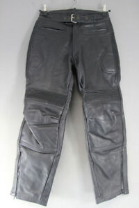 BRITISH MADE BTK BLACK COWHIDE LEATHER BIKER TROUSERS: WAIST 30/INSIDE LEG 29 IN