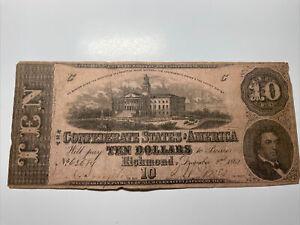 1862 Confederate States of America $10 Note