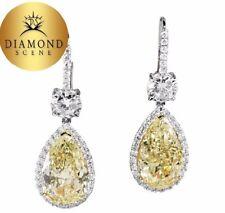 USGA CERTIFIED 10.00 CT 5 CT EACH FANCY YELLOW PEAR SHAPE DIAMOND DANGLE EARRING
