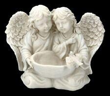 Figurine de Jardin - Ange Avec Bain D'Oiseaux Fille Enfants Statue Déco