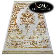"""VERY SOFT WOOL & ACRYLIC RUGS gold """"MANYAS"""" Thick & Densely Woven EASY TO CLEAN"""