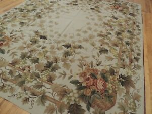 8x10 French Aubusson Needlepoint area rug Floral flat weave Beige Green Rust