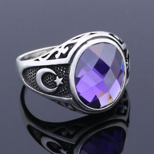 Solid 925 Sterling Silver Moon Star Amethyst Stone Men's Ring