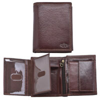 Mens RFID Blocking Luxury Grained Leather Organiser Wallet Purse Dark Brown