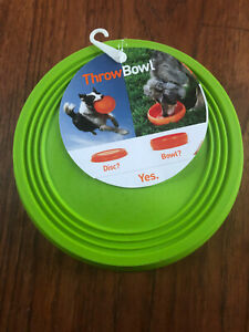 """PAWW Throw Bowl Dog Frisbee Disc Converts to Dog Bowl Green 8.5"""" Dog Safe Rubber"""
