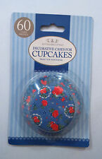 60 BLUE CUPCAKE CASES with RED VINTAGE ROSES DESIGN BAKING CASES oven safe 200 c