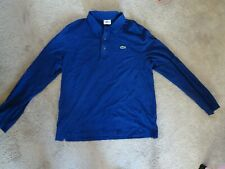 Lacoste Sport Long-Sleeve Men's Polo Shirt Size 6 Large Blue In Good Condition