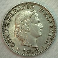 1908 B Switzerland 20 Rappen Nickel Content Coin XF Extra Fine