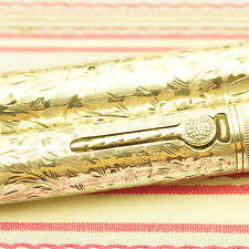 VINTAGE WATERMAN IDEAL STERLING SILVER OVERLAY ETCHED FLORAL FOUNTAIN PEN