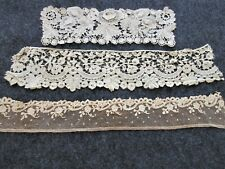 Antique Brussels Lace Trim.Three Pieces .Collector Study