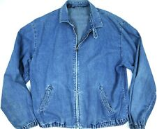 POLO RALPH LAUREN JEAN JACKET BLUE DENIM mens L CHINSTRAP BOMBER VTG