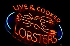 "Live Cooked Lobsters Neon Sign Display Restaurant Seafood Light Sign24""X20"""