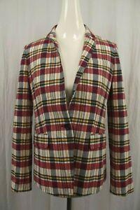 NEW J CREW Womens Regent Blazer Jacket Sz 4 Coat Suit Madras Plaid NWT Burgundy