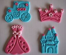 12 x Princess Cupcake Toppers CINDERELLA DRESS Coach TIARA Castle EDIBLE CAKE