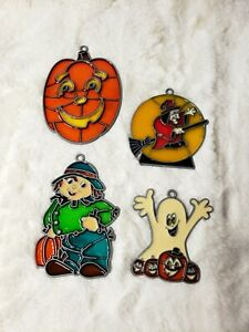 Vintage Suncatcher Lot Halloween Window Decoration Autumn Harvest Fall Ghost
