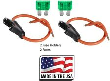 (2 PC) 12 GAUGE ATC FUSE HOLDER IN-LINE WITH (2 PC) 30 AMP FUSE Made in USA