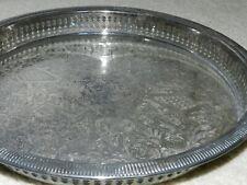 """Large Gorham Newport Openwork Silverplate Platter Round Tray 13"""""""