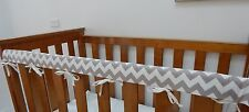 2 x Baby Cot Rail Cover Crib Teething Pad Grey Chevron - Cotton  SET OF TWO