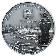 NIUE 5 Dollars 2010 Silver Antique UNC Bronze plated 'City of Towers - ZUTPHEN'
