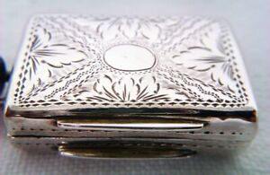 Rare Hand Engraved Solid Silver Early Victorian Vinaigrette Edward Smith 1839