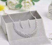 Bridal Wedding Party Austrian Crystal Sparkle Necklace Earrings Jewellery set